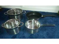 Brand new 4 piece Shulte-Ufer induction saucepan set