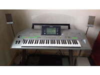 Yamaha Tyros 2 Keyboard with stand, speakers, sub woofer and foot pedals