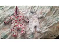 Snow suits 0-3 months boy and girl. £3 each