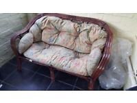 WICKER/BAMBOO 2 SEATER SOFA IDEAL FOR SUN LOUNGE ETC see details
