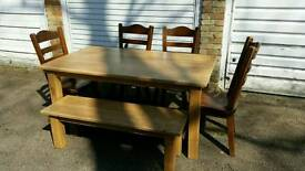 Handmade rustic solid oak table with 4x chairs and bench