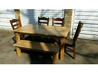 Solid oak rustic table with 4x chairs and bench