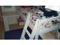 Mid sleeper white wooden bed with desk 50.00