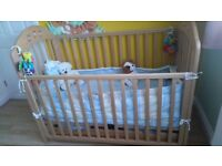 Mothercare Baby Cot with Mattress and Changer + Bedding