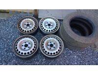 VW T5 Transporter Steel wheels + 2 tyres + centre caps