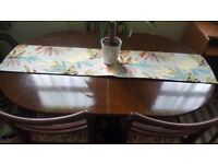 Wooden dining table with 3 chairs