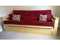 Kyoto Jamsine Double Futon Bed (with storage drawers) Claret Colour Upholstery. Excellent Condition