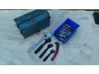 Tool box, large 450mm adjustable spanner , 3 x stanley adjustable spanners , sockets & spanners