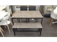 Julian Bowen Tribeca Grey Black Dining Table Bench & 2 Chairs Can Deliver