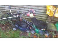 2 x petrol lawnmowers and 1 x petrol strimmer / spares or repairs
