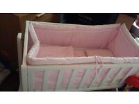 White swinging crib & bumber set bargain