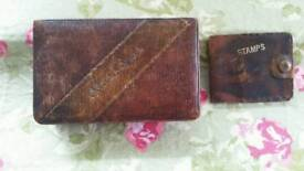 Vintage leather box and stamp book