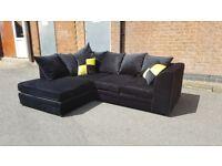 Amazing BRAND NEW black plush velvet corner sofa .good quality.can deliver