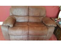 2 seater & 3 seater faux suede chocolate reclining sofa/settees