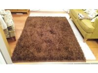Brown deep pile rug 140 cm x 200 cm