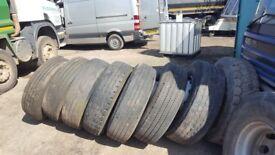 7 x 315 steer tyres on rims