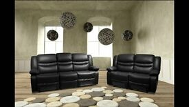 BRAND NEW Venice Leather Recliner Sofa Set Black