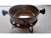 Authentic Ceramic Swiss Fondue Set (including bowl, stand, burner and 10 forks)