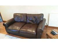 John Lewis Madison - 2 small chocolate brown leather sofas & matching footstool - excellent
