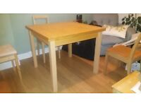 Ikea Bjursta dining table and 4 chairs