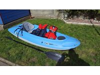 Sit on Top Kayak - BIC OUASSOU with paddle, seat and buoyancy aid (PFD)