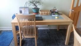 Dining table with 4 chairs. Good condition 5ft x 3 ft