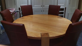 Round Solid Wood Dining Table + 6 Chairs