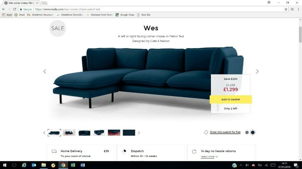 Sofa Petrol wes 3 seater sofa petrol teal made in kirkby in ashfield