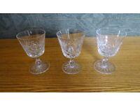 3 Vintage Wine Glasses