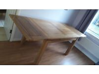 Solid Natural Oak Dorset Extending Table and Four Brown Cord Scroll Chairs