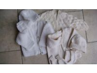 HAND KNITTED CARDIGANS 0 - 3 months, some matching items (EXCELLENT CONDITION)