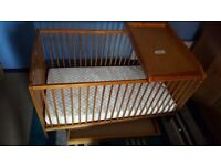 Lovely Pine Cot Bed with under drawer and changing board
