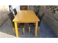 Dining romm table & 4 chairs
