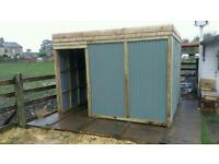 3mx3m field shelter tanalised frame clad with galvanised metal.