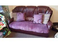 Leather sofa 2x chairs
