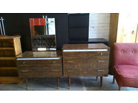 Retro dressing table with mirror and matching drawers