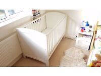 Painted white wooden Mothercare cotbed - excellent condition