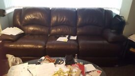 Brown 3 seater sofa and chair