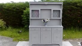 Beautiful, Large Welsh dresser. Paris Grey, Shabby Chic. Delivery Available.