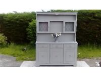 REDUCED! Beautiful, Large Welsh dresser. Paris Grey, Shabby Chic. Delivery Available.