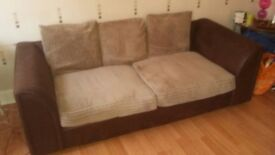 Brown and Beige suede effect sofa good condition comes with 2 cushions