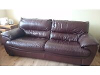 DFS made-to-order Italian Chestnut 3 Seater Leather Sofa & Matching Storage Pouffe
