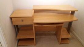 Computer desk- sturdy veneered woodboard with retractable keyboard shelf