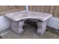 Solid stone garden seat