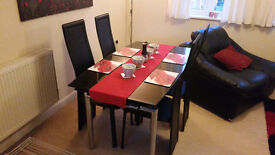 Black Glass Dining Table and 4 Chairs - Extendable
