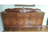 Solid rosewood sideboard with brass inlay