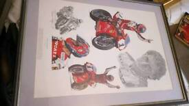 Carl Fogarty motorcycle print in hand made frame and miunt