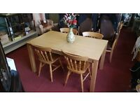 Dining Table & Chairs - 4 Quality Solid Pine Chairs and Wooden Dining Table