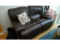 2 x 2 seater brown leather reclining sofas