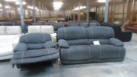 grey fabric 3 seater and electric recliner chair